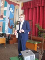 Выступает Баранов Дмитрий Станиславович, руководитель исследовательского общества учащихся гимназии