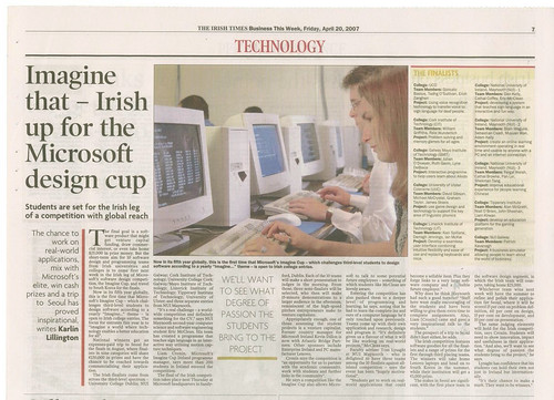 Friday's Irish Times Article on the Imagine Cup