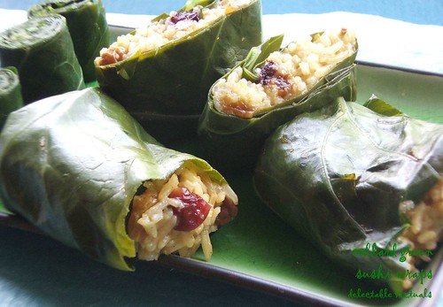 easy recipe collard greens sushi bites wrap vegetarian cuisine