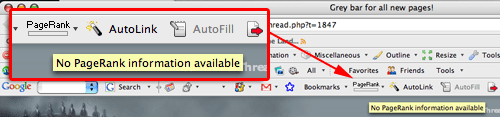 Grey PageRank Google Toolbar