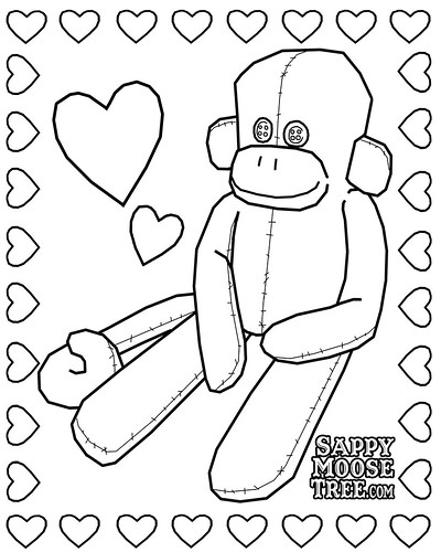 sock monkey coloring page