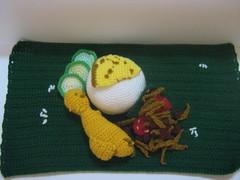 Nasi Lemak (Coconut rice set meal) (melbangel) Tags: food green chicken asian rice coconut cucumber crochet egg drumstick amigurumi