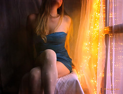 .. With Festive Mood ... (MargoLuc) Tags: golden lights festive mood coming christmas time me self portrait girl woman blonde blue dress fashion window light artisawoman