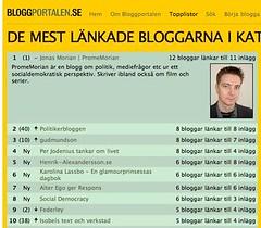 Skärmdump från Bloggportalen