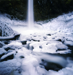 the elowah blues (manyfires) Tags: blue winter ice oregon landscape frozen waterfall pinhole pacificnorthwest inverno zero2000 columbiarivergorge zeroimage elowah specnature elowahfalls unusualseasons