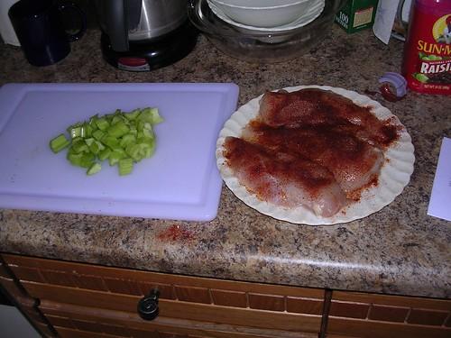 Chicken and Celery for Orange Chicken