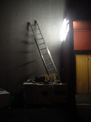 The shadow of the ladder (Jan Egil Kristiansen) Tags: shadow night backyard warehouse step handheld ladder faroeislands a330 natt aluminium lager skygge stige trshavn froyar fluorescenttube bakgrd 05s trinn halsi dscf3895 lysrr hvitevarer