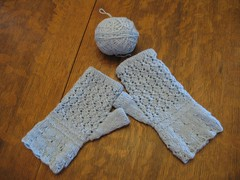 Finished Wine and Roses Mitts