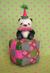 Nine-Patch Nina (nimbleknot) Tags: bear panda quilt handmade pincushion needlefelted
