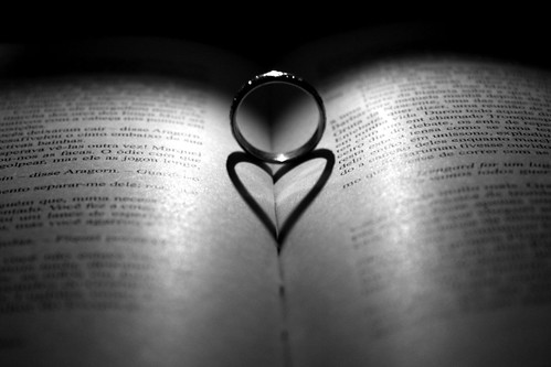 book, ring and heart