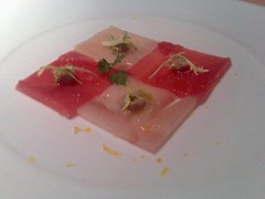 Mosaic of maguro and hamachi, yellow frisee and foie gras sauce