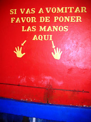 Consejo de Amigos (Aleksu) Tags: trip travel viaje blue red vacation color colors sign azul bar geotagged mexico fun restaurant rojo restaurante humor colores mexican restroom veracruz letrero mexicano bao xalapa aleksu