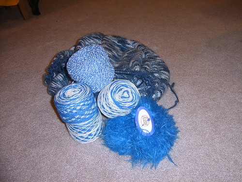 blue and white yarn for project spectrum