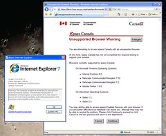 Canada Revenue unsupport browser 3: IE7/Win