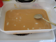 melted lard and peanut butter