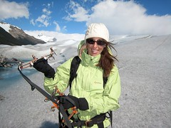 Julee with her crampons (Glacial Sandals)