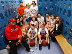 *lighting a high school locker room for girls basketball team photo.  March 2007.