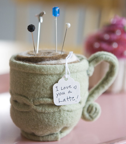 I love you a latte! pin cushion by paper pony.