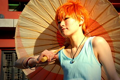 orange-haired (jessleecuizon) Tags: blue red portrait anime fashion japan umbrella silver catchycolors asian temple sensoji japanese tokyo necklace costume cool play cosplay hairdo heroine bracelets asakusa sleeveless nikond80 orangehaired