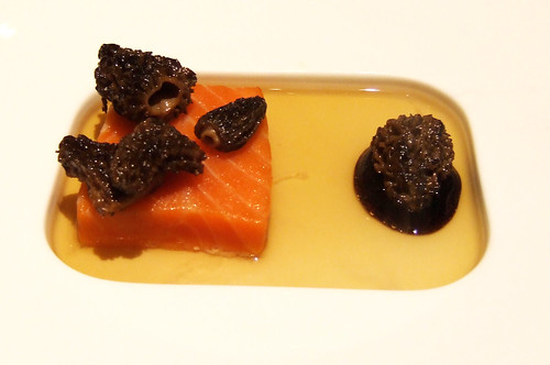 Ideas in Food - King Salmon - foie gras consomme, morel mushrooms, red wine
