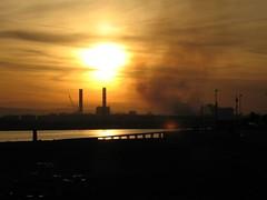 Smoke Stack Light Explosion (MacGBeing) Tags: ireland sunset chimney sky dublin reflection night clouds geotagged fire smoke nuke dollymount clontarf nuclearproliferation