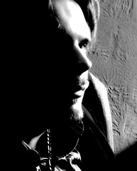 in the shadows (sly drone) Tags: shadow blackandwhite bw man cute sexy male guy face mouth beard nose model eyes gorgeous lips moustache mustache heterosexual lightplay forgirlsonly