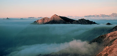 Island in the Sky (Bev and Steve) Tags: mountains alps clouds sunrise wow austria searchthebest hiking zillertal hutte top20clouds landshutter