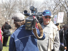 Do you think they're filming each other? (kevcowiffle) Tags: newjersey women rally protest nj newbrunswick rutgers cameramen imus donimus