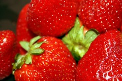 Strawberries! (SolsticeSol) Tags: red fruit juicy strawberry berries strawberries fresh freshfruit sexyfruit lushred lusciousred lusciousstrawberries tastylooking shinyberries lushberries gemlikeberries shinystrawberries sexyfruitimage