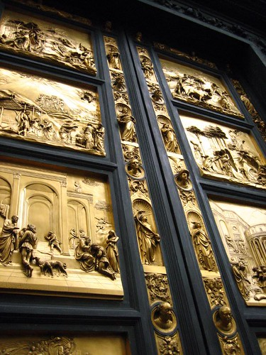 The copies of Ghiberti's doors have been uncovered.
