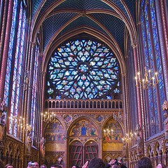 Sainte Chapelle Stained Glass (allanimal) Tags: paris france church geotagged gothic stainedglass tourists allanimal iledefrance geo:lat=48855329 geo:lon=2345093