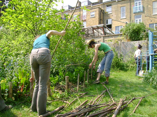 Making a hazel fence