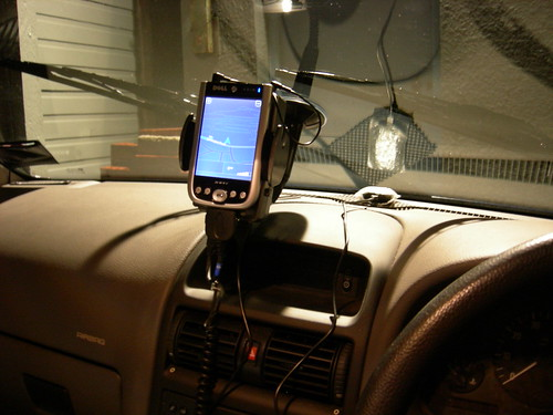 Arkon powered mount sited in car, night colours