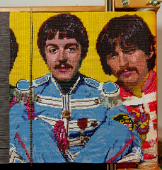 Sgt. Peggy's Lonely Hearts Club Band, George and Paul with John in progress (Peggy Dembicer) Tags: portrait art creativity design diy beads artwork faces artistic handmade mixedmedia unique creative craft surfacedesign nostalgia textile beatles handcrafted create fiberart fiber weaving beading doityourself embellish paulmccartney georgeharrison craftsmanship beadwork textileart sgtpepperslonelyheartsclubband sgtpeppers loomwork studioart beadart dembicer connecticutartist peggycorallo
