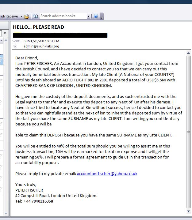Nigerian Scammer sample letter