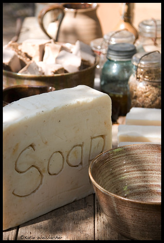 Image of soap and supplies to make it the old fashioned way