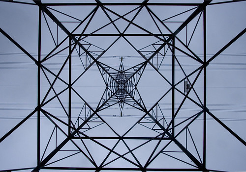 A National Grid pylon on Swanston farm - Edinburgh Scotland