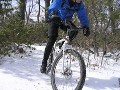 The studs grip the ice on Salamander Trail