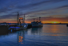 HDR Sunset, Seaport Village, San Diego, California (Thad Roan - Bridgepix) Tags: california sunset reflection water clouds marina boats fishing sandiego vessel tuna coronado hdr seabird seaportvillage 200701