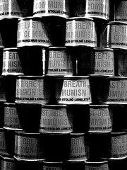 The Last Breath of Communism (stoffen) Tags: red bw last tin star pattern breath can communism stable