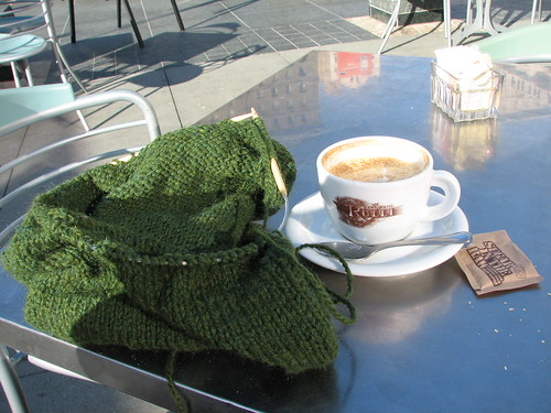 knitting with a cappuccino