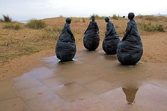 Reflection (Canon John's 7D (Wow! 3,000,000+ views, Thanks)) Tags: beach bronze statues conversation piece southshields weebles