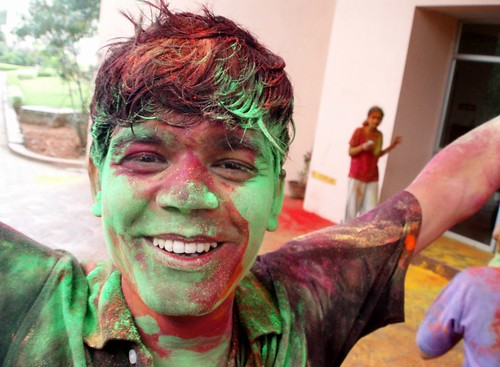 Cauvery fellow, green colored during holi festival