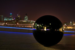Giant Marble HDR (Bucky O'Hare) Tags: blue black london art st thames night ball artistic swiss marys axe re gherkin