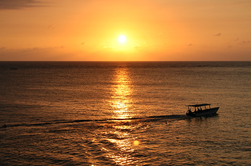 Jamaican sunset with boat