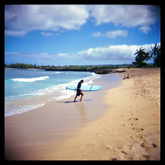 At Surf's End (Ralph Krawczyk Jr) Tags: ocean 120 6x6 water clouds mediumformat hawaii holga sand surf oahu surfer toycamera shoreline footprints wave bluesky palmtrees northshore squareformat surfboard haleiwa hangloose wetsuit ralphkrawczykjr goteamhoga haleiwaaliibeachpark