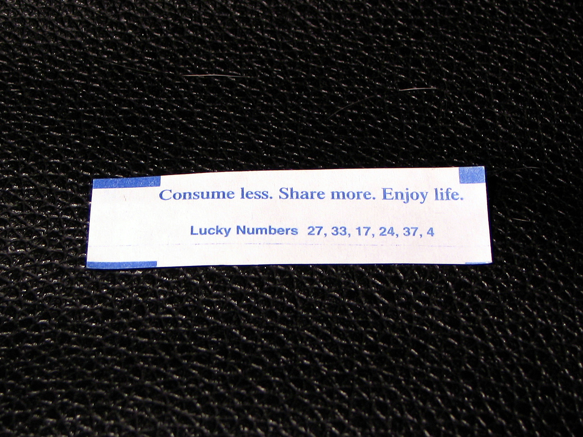 Consume less. Share more. Enjoy life.