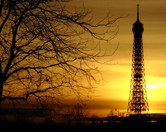 When Sky Becomes Golden (P e c) Tags: trees sunset sky orange paris france tree tower clouds dark tour eiffeltower eiffel toureiffel paysage effeil