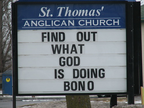 Is the preacher going to tell people that God is having sex with Bono?