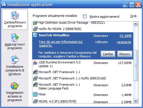 VirtualBox - aggiornarlo - 4 - disinstalla